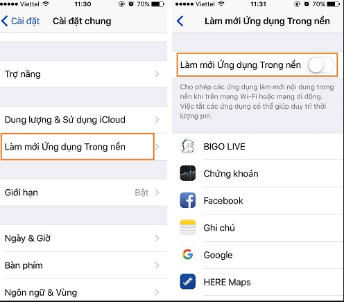 iPhone tự load trong nền ứng dụng