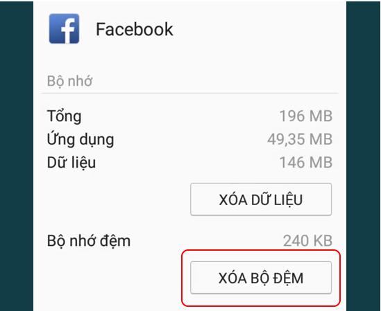 Xóa cache và data của Facebook