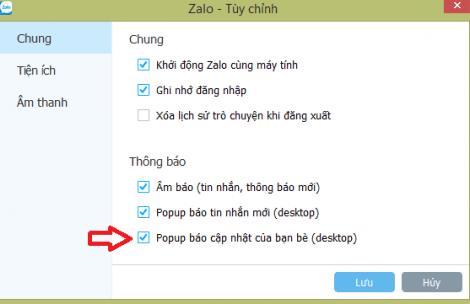 tắt thông báo Zalo ở góc màn hình máy tính