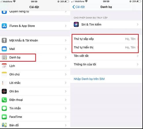 cách sắp xếp danh bạ trên iPhone
