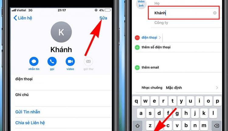 danh bạ bị ngược tên trên iPhone